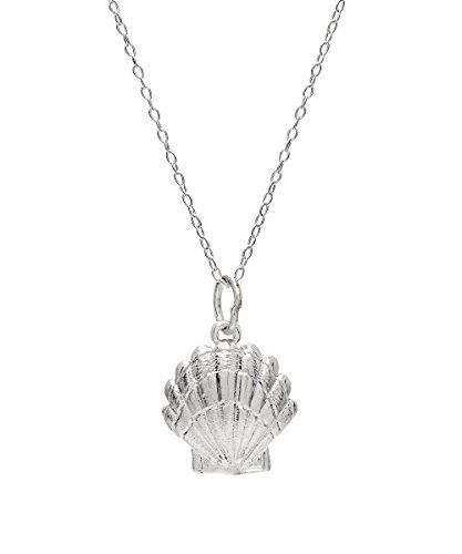 (Sterling Silver Scallop Shell Pendant Necklace, 18