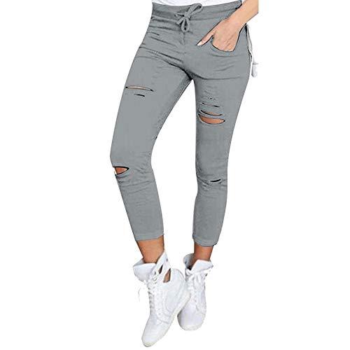 3XL FAIYIWO Fashion Women Casual Skinny Ripped Pants High Waist Stretch Slim Pencil Trousers S-XXXXL FAIYIWO Wine red Size