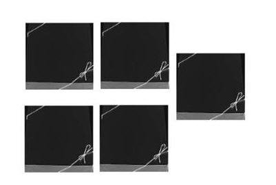 5pack Black Bracelet Jewelry/Gift Card Gift Boxes with Filler and Silver Bow Strings ()