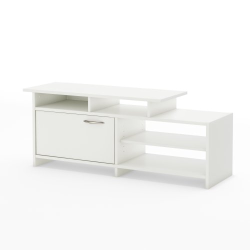 "Step One - TV Stand - Fits TVs Up To 42"" - Pure White - by South Shore (Tv Plasma White Stand)"