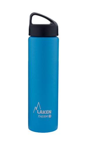 Laken Thermo Classic Vacuum Insulated Stainless Steel Wide Mouth Water Bottle with Screw Cap, 25 Oz, Light Blue