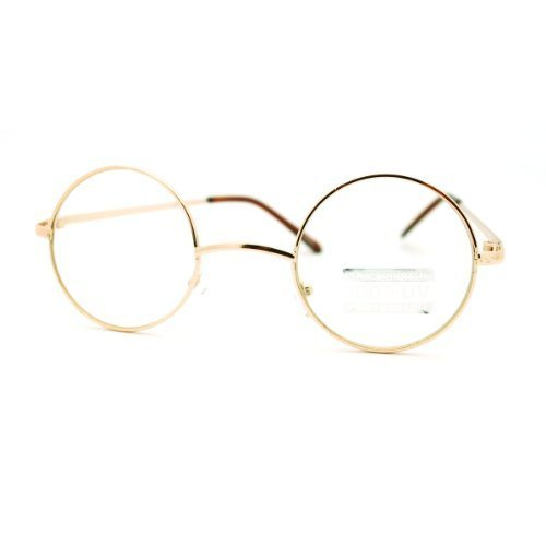 Gold Round Circle Clear Lens Eyeglasses Small Size Thin Frame Unisex Glasses ()
