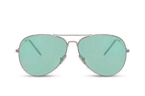 Cheapass Sunglasses Aviator Argent Miroitant Femmes Hommes eI7Ys11