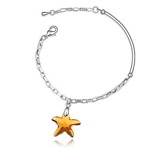Women Elegant Leng Elegant Pretty Bracelet Extravagance Luxury Elegant Simple Girls Jewelry Starfish Design Crystal Bracelet(Yellow Crystal)