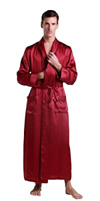 LILYSILK Men's 22 Momme Silk Robe Contra Full Length 100% Pure Silk