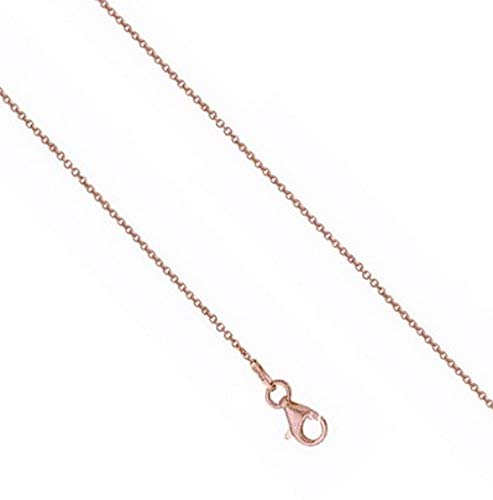 Hemau Cable Link Chain Necklace 14K Rose Pink Gold Clad 925 Sterling Silver | Model NCKLCS - 539 | 18