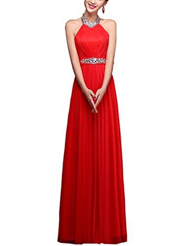 Great Bright Damen Halfter Abendkleid Ballkleid mit Dem mit Strasssteinen verzierten Satinband CL0022 Leuchtend Rot