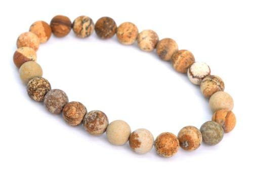 (8mm Matte Picture Jasper Bracelet Grade Natural Round Gemstone Beads 7'' Crafting Key Chain Bracelet Necklace Jewelry Accessories Pendants)