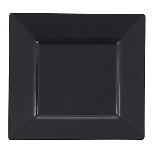 Kaya Collection - Black Plastic Square 10.75'' Dinner Plates - Disposable or Reusable - 1 Case (120 Plates) by Kaya Collection