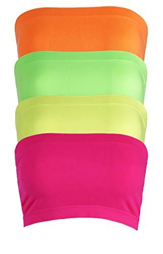 Pro Fit Women's Strapless Bra Bandeau Tube Top Multi Pack Seamless Regular and Plus Sizes (Regular 2-8, n.or+n.yw+n.pk+n.gr)