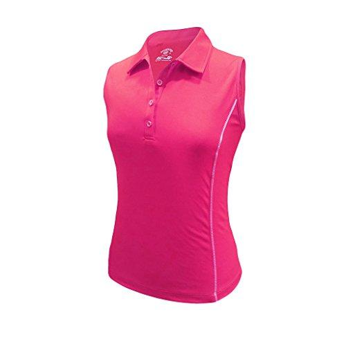 (Monterey Club Ladies Dry Swing Stripe Piping Sleeveless Shirt #2373 (Very Berry, Medium))