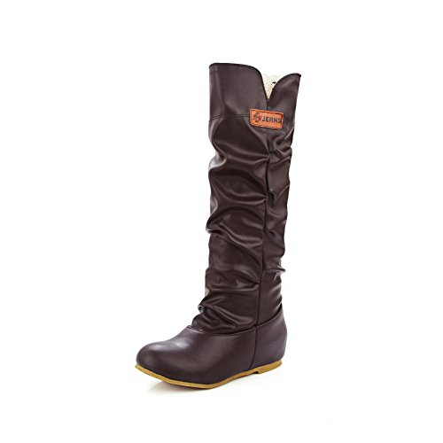Allhqfashion Women's Solid Soft Material Low Heels Soft Materialll-On Round Closed Toe Boots Brown qoMI8bx