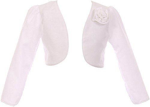 BNY Corner Little Girl Satin Long Sleeve Bolero for Flower Girl Wedding Pageant Communion White 6 KD.409 Flower Girl Bolero