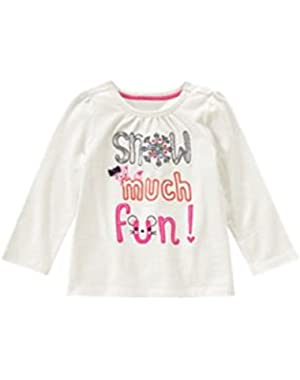 Toddler Girls Snow Much Fun Tee - 2T
