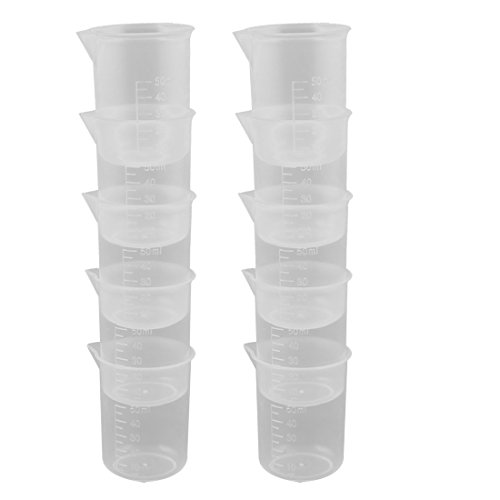 uxcell Plastic Capacity Measuring Cup Beaker Laboratory Set 50ml 10 Pcs Clear