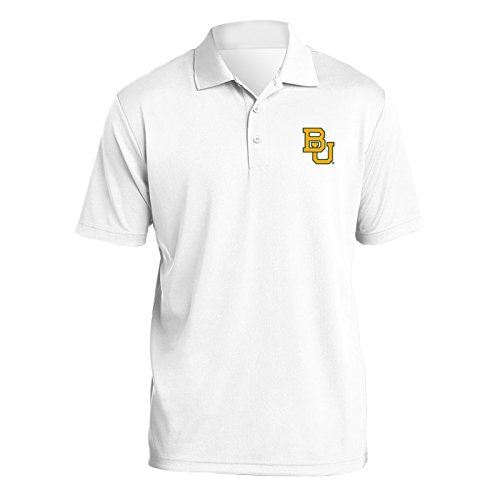 UGP Campus Apparel AP07 - Baylor Bears Primary Logo Left Chest Mens Polo - Small - White