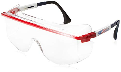 Uvex S2530C Astrospec OTG 3001 Safety Eyewear, Red/White/Blue Frame, Clear UV Extreme Anti-Fog Lens -