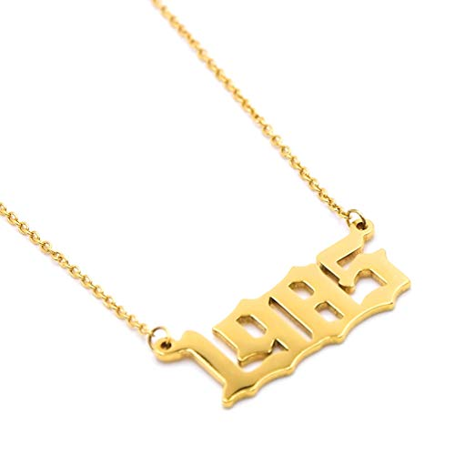 Birth Year Necklace Personalized Gold Women Girls Year Number Pendant Birthday Gift Charm Friendship Jewelry Gold Necklace 1985 ()