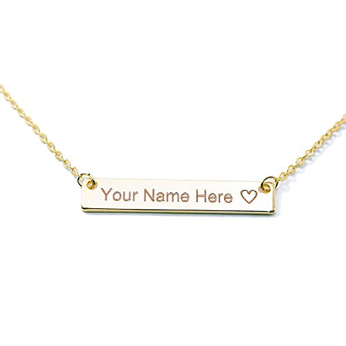 [SAME DAY SHIPPING GIFT TIL 2PM CDT Customizable Your Name Bar Necklace 16k Gold Plated Engraving Personalized Bridesmaid and Wedding Gift] (Homemade Pilgrim Costumes For Girls)