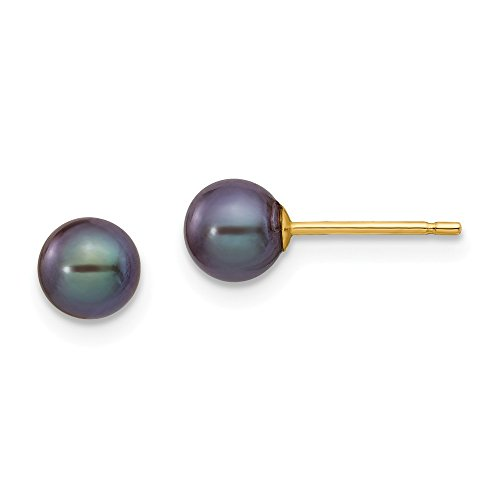 14k Yellow Gold 6mm Black Round Freshwater Cultured Pearl Stud Post Earrings Ball Button Fine Jewelry Gifts For Women For Her