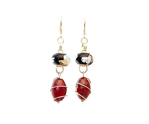 Handmade Vermeil Wire Wrapped Carnelian Oval Beads Drop Red and Black Earrings 2.5