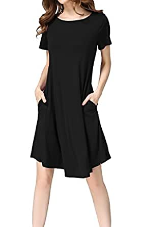 Hibluco Women's Casual Short Sleeve Loose Tunics A-line T-Shirt Dress with Pockets (Small, Black)