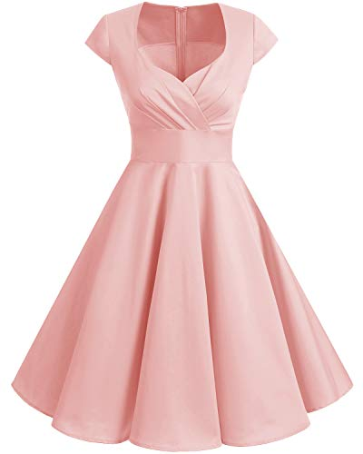 Pink Tea Party Dress (Bbonlinedress Women Short 1950s Retro Vintage Cocktail Party Swing Dresses Blush)