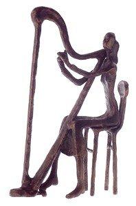 Harp Player Statue Contemporary (Bronze)