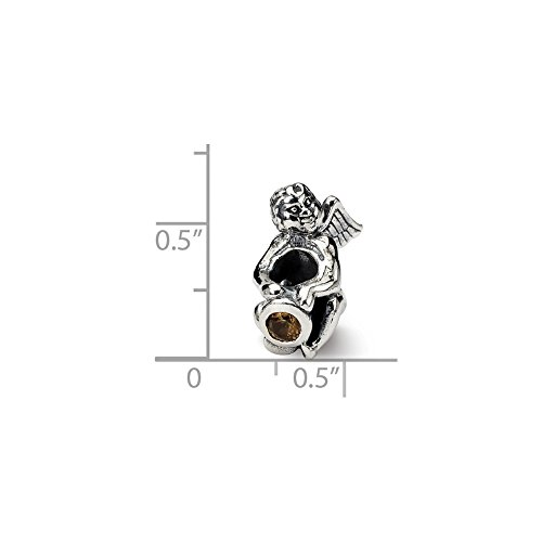 - Solid .925 Sterling Silver Reflections November CZ Antiqued Bead 16.36 mm