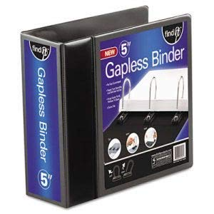 Ideastream Consumer Products Gapless Loop Ring View Binder, 11 x 8-1/2, 5 Inch Capacity, Black (5 Units)