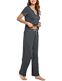 Women's Pjs Sets Sleepwear Short Sleeves Pajama Set with Pants Loungewear (S-XXL)