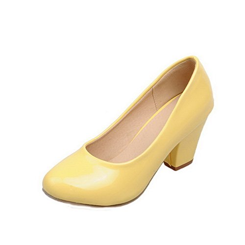 Odomolor Women's Patent Leather Round-Toe Kitten-Heels Pull-On Solid Pumps-Shoes, Yellow, 38