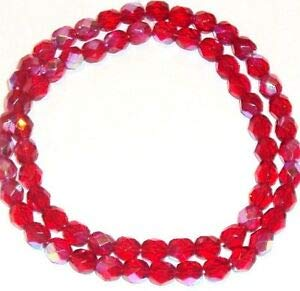 Steven_store CZ327 Light Red AB 6mm Fire-Polished Faceted Round Czech Glass Beads 16