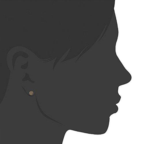 Jewelili femme  9carats (375/1000)  Or jaune|#Gold Rond   Marron Diamant