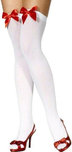 Halterlose Strümpfe, Weiß mit roter Schleife (Smiffys)