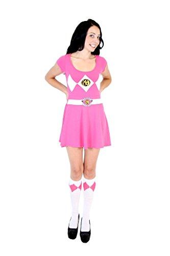 Power Rangers Pink Ranger Costume Skater Dress (Juniors X-Large) (Power Rangers Costume Pink)