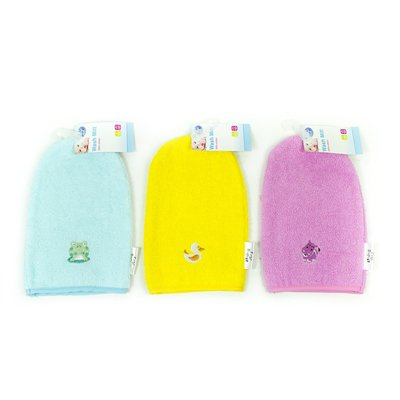 First Steps Baby Wash Mitt in 3 Assorted Colours Perfect for Bath Time