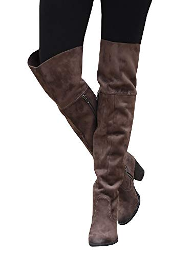 Ivay Women Knee High Boots Chunky Block Heel Zip Side Faux Leather Riding Shoes