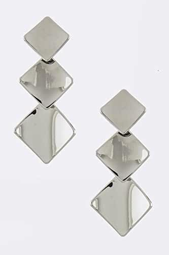 TRENDY FASHION JEWELRY SQUARE DISK LINK EARRINGS BY FASHION DESTINATION