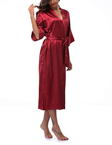 VOGTORY Women's Satin Robes Pure Color Long Kimono Bathrobes Soft Nightgown Wine Red