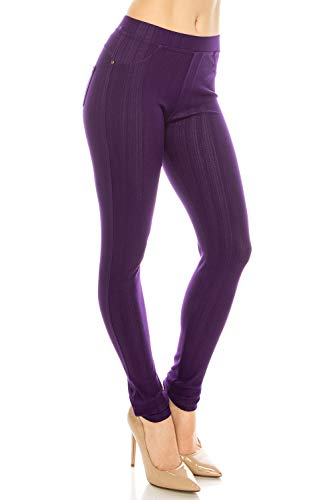 ShyCloset Basic Skinny Jeggings Pants - Skinny Slim Fit Jean Stretch Leggings (Regular/Plus Size) (ONE, Ankle - - Purple Stretch Pants