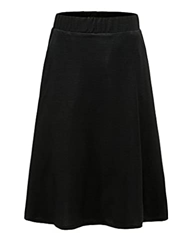 Emiqude Women's Elastic Band A Line Skater Pleated Full Midi Stretch Skirt with Pocket Black Small (Black Midi Set)