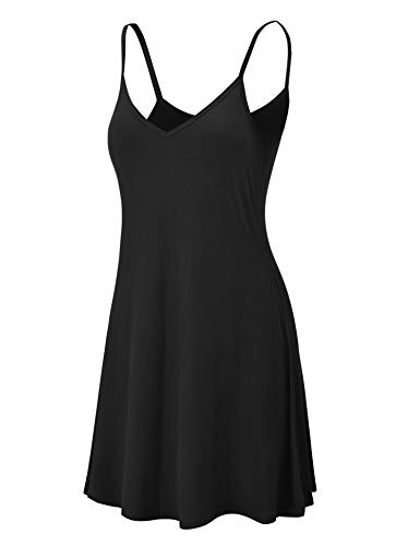 Lock and Love LL WDR1090 Womens V Neck Spaghetti Strap Tunic Short Dress XXL Black