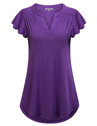 Ruffle Short Sleeve Tops for Women,Misses Tops Fashionable Stylish Cute V-Neck Flutter Sleeves Tunic Curved Hem Pleated Front Blouse Tee Shirt Relaxed Fit Flare Embellished Tunic Tops Purple X-Large