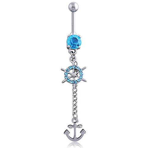 Power Wing Anchor Belly Button Rings Dangle Sexy Long Surgical Steel 14G 3 Color Clear&Pink&Sky Blue (Sky Blue)