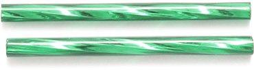 Preciosa Ornela Czech Twisted Bugle Glass Bead, 30mm, Silver Lined, Christmas Green, 80 gm/Pack