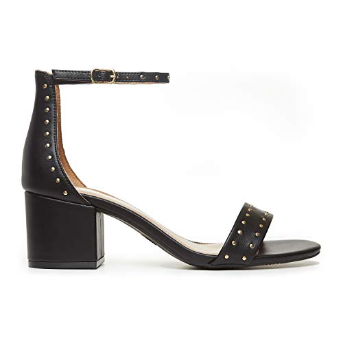 Rohb by Joyce Azria Calypso Mid Heel Ankle Strap Sandal (Black with Studs) Size 7.5