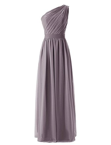 Gray Brautjungferkleider Lang Formelle Damen Fanciest Shoulder Wedding Gray Kleider Party One nqx7qP4