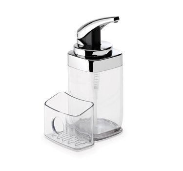 simplehuman Precision Lever Square Push Soap Pump With Removable Caddy, Chrome And Plastic, 22 fl. oz. by simplehuman