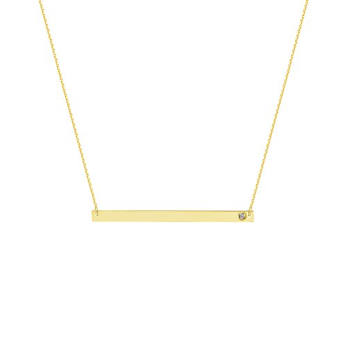 NAME PLATE NECKLACE, 14KT GOLD & DIAMOND NAME PLATE NECKLACE 18'' INCHES by DiamondJewelryNY